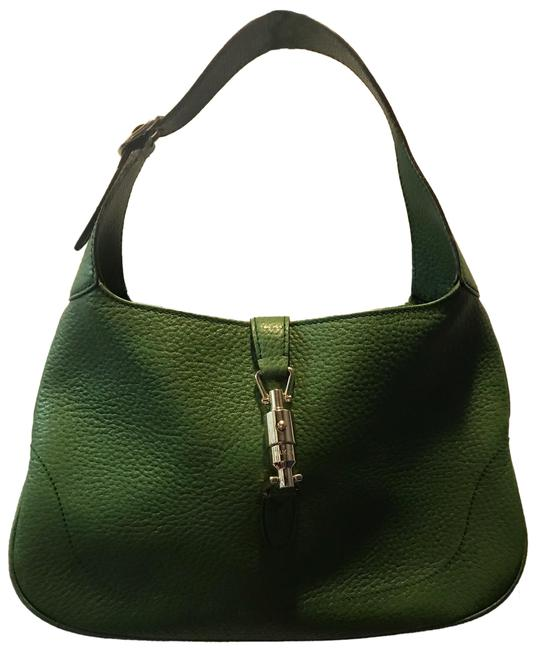 Item - Jackie O' Green Leather with Silver Hardware One Inside Zipper with Pristine Black Lining. Hobo Bag
