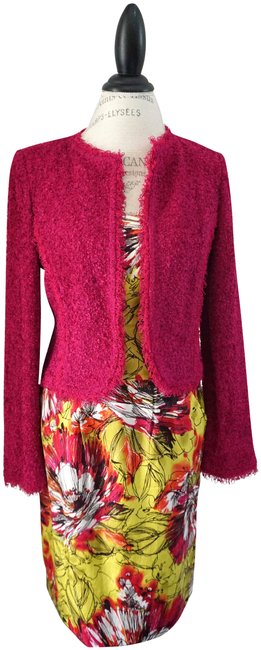 Item - Gold Pink Sleeveless Fit & Flare Pleated Waist Jacket Mid-length Work/Office Dress Size 6 (S)
