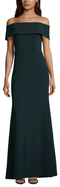 Item - Pine Ruffled-back Off-the-shoulder Gown 10p Long Formal Dress Size Petite 10 (M)