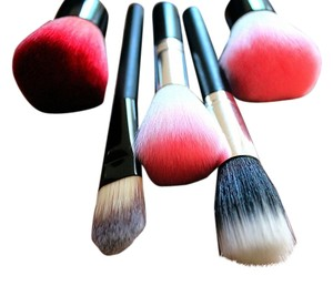 5 pc brush makeup set face pro lot kabuki pink red face foundation powder brush set lot 5 new makeup cosmetics