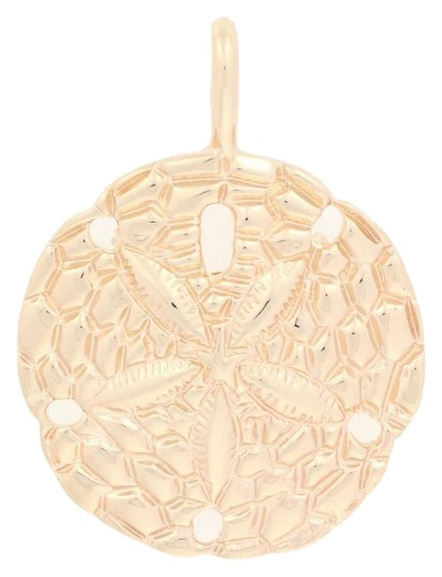 Item - Yellow Sand Dollar Pendant - 14k Gold Nautical Beach Ocean E5674