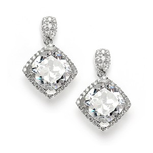 Mariell Popular Micro Pave Cz Cushion Cut Wedding Earrings 3780e