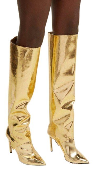 Item - Gold Hurley 100 Liquid Mirror Leather Two-piece Knee High Boots/Booties Size EU 37 (Approx. US 7) Regular (M, B)