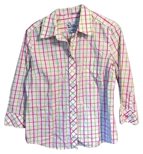 Lilly Pulitzer Button Front Shirt Womens Blouse White Pink Green Checkered. Condition Is Pre-owned. Shipped with Usps Button-down Top Size 10 (M) Lilly Pulitzer Button Front Shirt Womens Blouse White Pink Green Checkered. Condition Is Pre-owned. Shipped with Usps Button-down Top Size 10 (M) Image 1