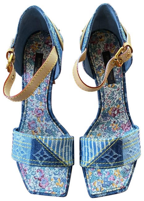 Item - Denim Blue Patchwork Sandals Size EU 35 (Approx. US 5) Regular (M, B)