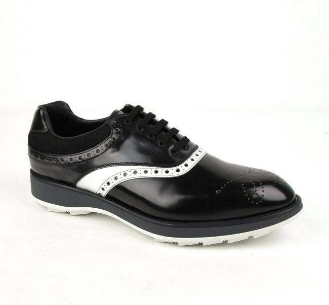 Item - Black/White Black/White Leather and Mesh Oxford Dress Uk 11/Us 12 2ee260 Shoes