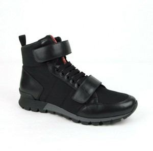 Prada Black Leather/Nylon High Top Sneaker with Side Zipper Uk 6/Us 7 4t3120 Shoes