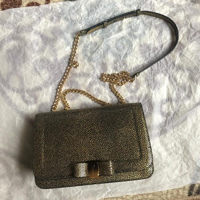 Salvatore Ferragamo Vara Bow Glitter Gold/Black Calfskin Leather Cross Body Bag Salvatore Ferragamo Vara Bow Glitter Gold/Black Calfskin Leather Cross Body Bag Image 1