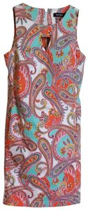 Nine West short dress Teal and Orange Keyhole Paisley Sheath Sleeveless on Tradesy