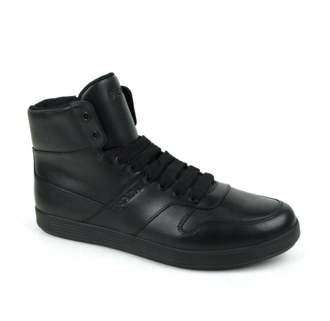 Item - Black Leather Hi Top Sneaker with Side Zipper Uk 6.5/Us 7.5 4t3368 Shoes