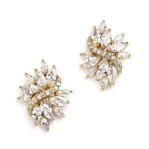 Mariell Gold Cubic Zirconia Cluster Bridal Earrings With Delicate Marquis Stones 4014e-g