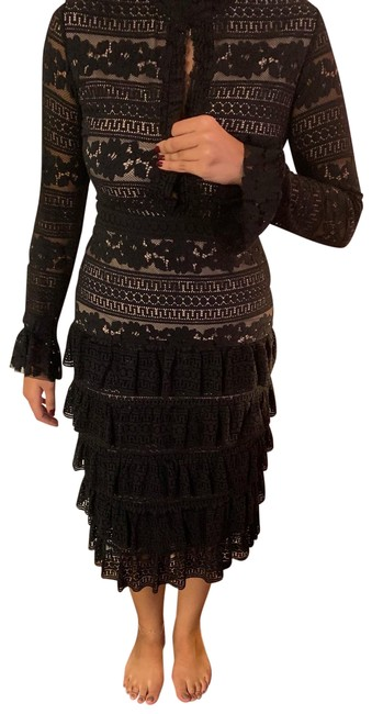 Item - Black Knit and Ruffle Fitted Mid-length Night Out Dress Size 12 (L)