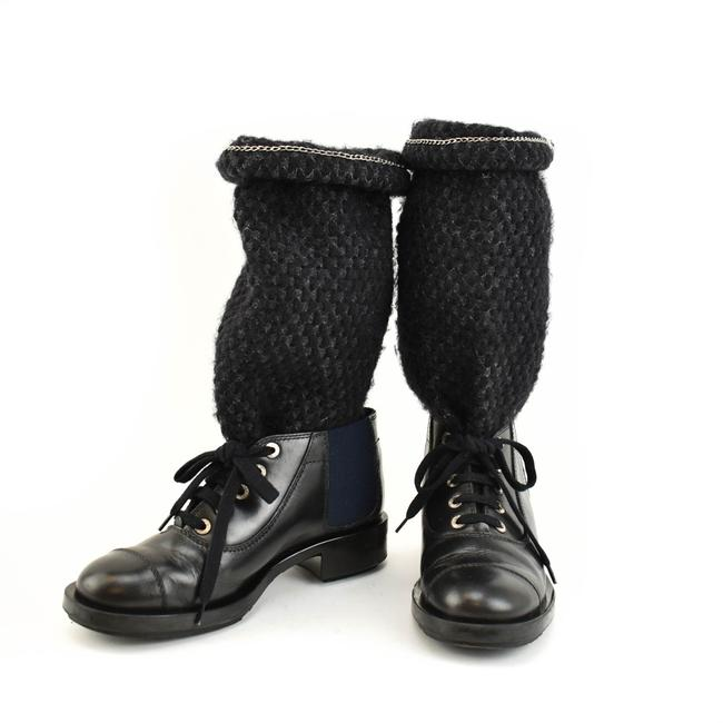 """Item - """"Chain"""" Black Leather """"Cc"""" Logo Sweater Knit Mid-calf Boots/Booties Size EU 38.5 (Approx. US 8.5) Regular (M, B)"""