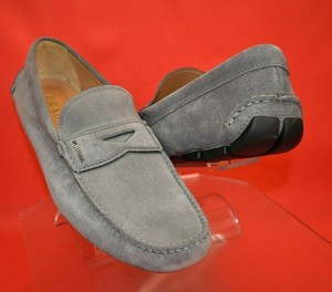 Prada Gray Suede Lettering Logo Moccasins Penny Loafers 11.5 / Us 12.5 Shoes