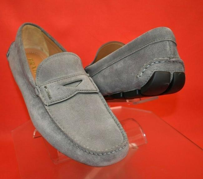 Item - Gray 2dd001 Suede Lettering Logo Moccasins Driving Penny Loafers 11.5 Shoes