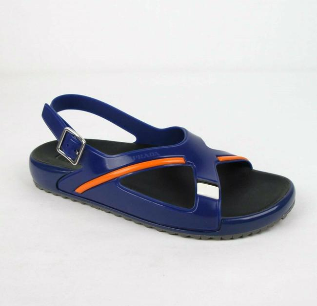Item - Blue Orange Colorblock Rubber Sandal with Heel Strap Uk 7/Us 8 4x3092 Shoes