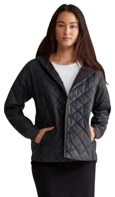 Eileen Fisher Black Diamond Quilted Organic Cotton Hooded Bomber Style Jacket Size 14 (L) Eileen Fisher Black Diamond Quilted Organic Cotton Hooded Bomber Style Jacket Size 14 (L) Image 1