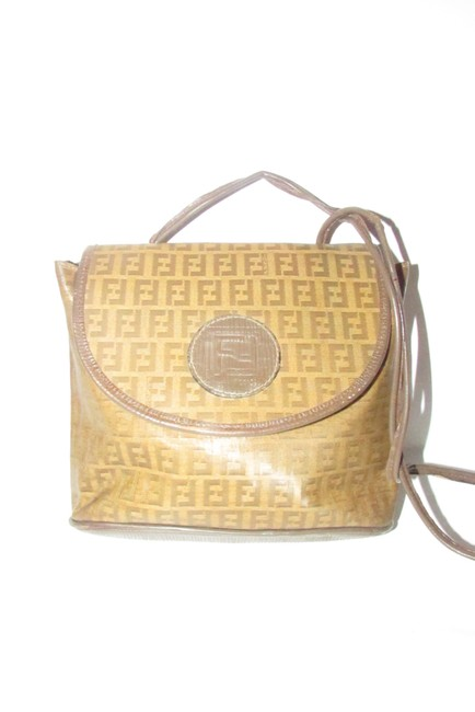 Item - Zucchino Cross Body/Shoulder Brown W/ Yellow F Logo Print Leather/Coated Canvas Shoulder Bag