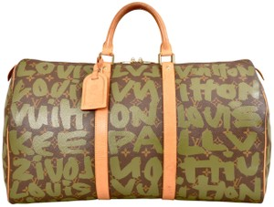 Louis Vuitton Duffle Duffel Gym Keepall Suitcase Green & Brown Travel Bag