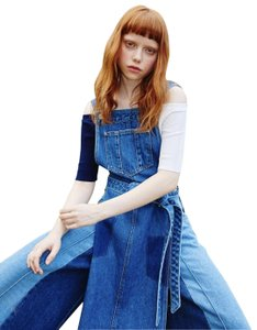 Blue Denim Maxi Dress by SJYP Patchwork Overall Apron