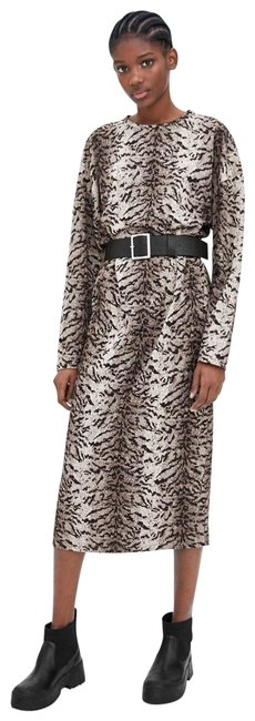 Item - Gray/Black Belted Tiger Print Long Sleeve New Mid-length Work/Office Dress Size 6 (S)