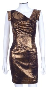Black Halo 'jackie O' Bronze Gold Pencil Sheath Dress