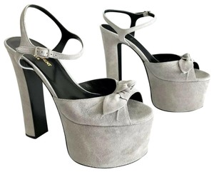 Saint Laurent Betty Bow Platform Paris Gray Sandals