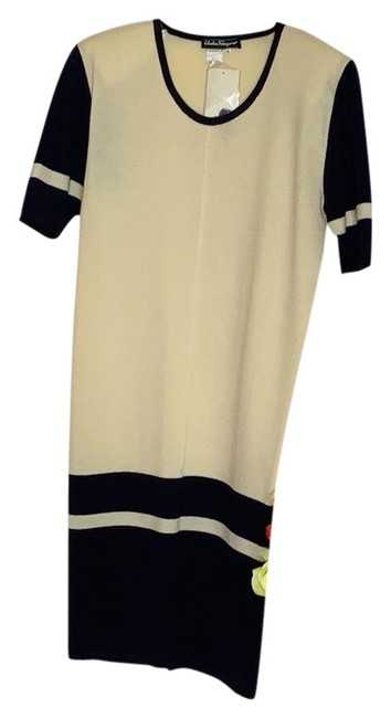 Item - Cream and Black Mid-length Cocktail Dress Size 4 (S)