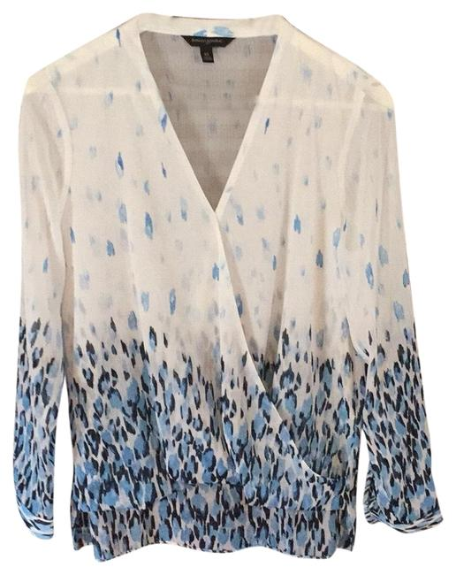 Banana Republic White and Blue Blouse Size 2 (XS) Banana Republic White and Blue Blouse Size 2 (XS) Image 1