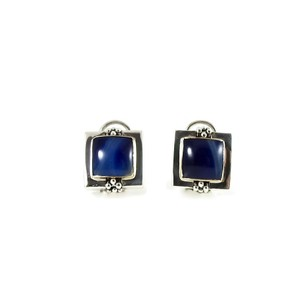 Michael Dawkins Silver Sterling Square Lapis Earrings 48 Off Retail