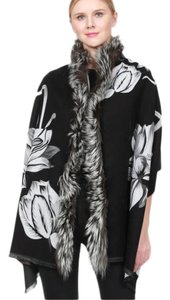 Belle Fare Double Floral Print Cashmere-Blend Shawl with Silver Fox Trim