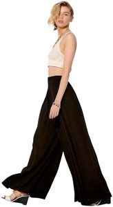 Carmen Marc Valvo Pleated Waist Slant Pockets Zip Fully Lined Wide Leg Pants Black