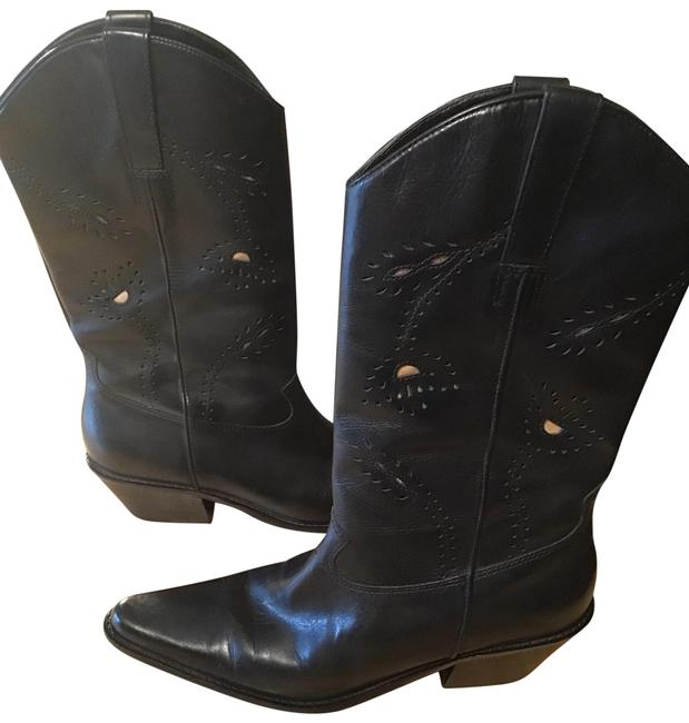 Item - Blk W Cowboy Style Cutouts On The Outsides W/ Turquoise and Cream Color Boots/Booties Size US 9 Regular (M, B)