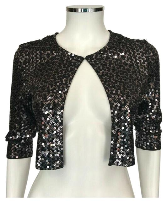 Harrison Morgan Black Sequin Knit Silk Open Front Shrug Cropped P/S Cardigan Size Petite 4 (S) Harrison Morgan Black Sequin Knit Silk Open Front Shrug Cropped P/S Cardigan Size Petite 4 (S) Image 1