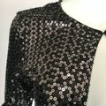 Harrison Morgan Black Sequin Knit Silk Open Front Shrug Cropped P/S Cardigan Size Petite 4 (S) Harrison Morgan Black Sequin Knit Silk Open Front Shrug Cropped P/S Cardigan Size Petite 4 (S) Image 2
