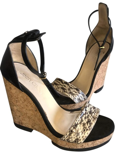 Item - Black and Tan - Snakeskin Unknown Wedges Size EU 38 (Approx. US 8) Narrow (Aa, N)