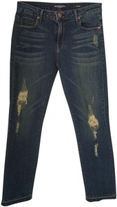 Denimocracy Nash Ripped Frayed Distressed Stretch Straight Leg Jeans-Distressed