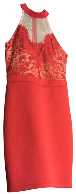 Item - Red Lace Or Cocktail Short Night Out Dress Size 4 (S)