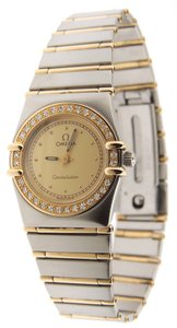 Omega Ladies Omega Constellation Diamonds Full 18KYG Bar/SS 23mm Watch
