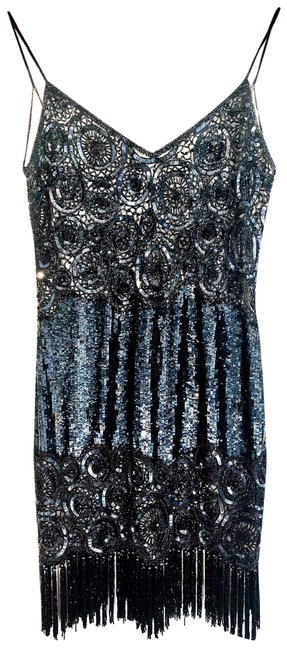 Item - Black Vintage Silk Beaded Fringe Art Deco Backless Short Formal Dress Size 10 (M)