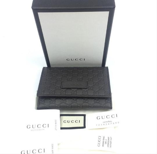Gucci Gucci MicroGuccissima Brown Leather Card Case Wallet Bifold 544030 Image 1