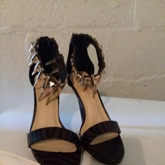 JUST FAB Brown/Black stripe print Pumps Image 1