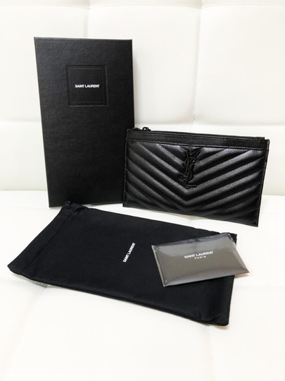 Saint Laurent Ysl Pouch Leather Clutch Image 1