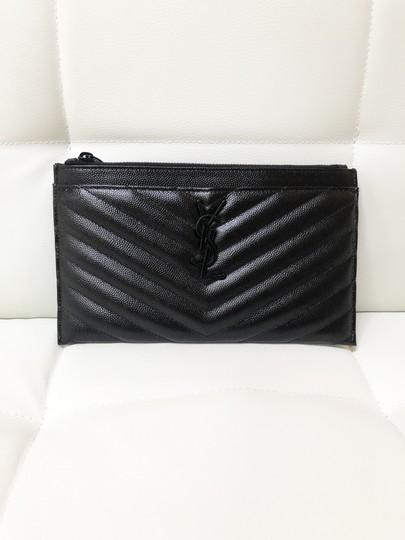 Saint Laurent Ysl Pouch Leather Clutch Image 2