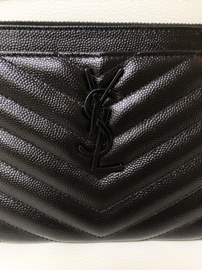 Saint Laurent Ysl Pouch Leather Clutch Image 3