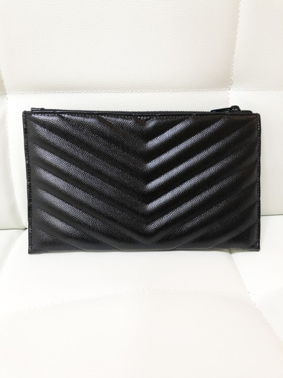 Saint Laurent Ysl Pouch Leather Clutch Image 5