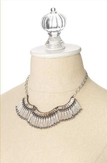 Stella & Dot Twlight Silver Fringe Statement Necklace Image 1