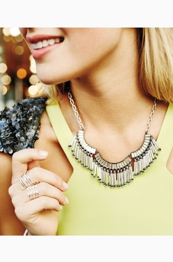 Stella & Dot Twlight Silver Fringe Statement Necklace Image 2