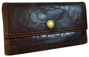 Coach COACH Rare Signature Stitched Trifold Clutch Wallet DARK BROWN LEATHER