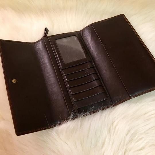Coach COACH Rare Signature Stitched Trifold Clutch Wallet DARK BROWN LEATHER Image 2